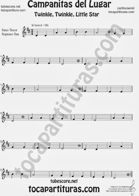 Partitura de Campanitas del Lugar para Saxofón Soprano y Saxo Tenor Villancico Christmas Carol Song Twinkle twinkle little  Sheet Music for Soprano Sax and Tenor Saxophone Music Scores