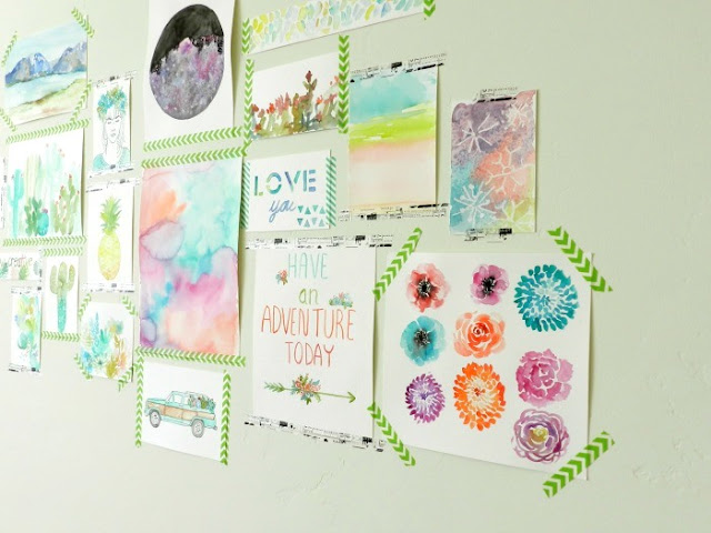 Watercolor Art Gallery with Washi Tape