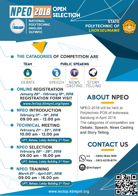 OPEN SELECTION 6th NPEO 2018 POLITEKNIK NEGERI LHOKSEUMAWE