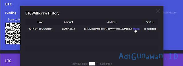 Bukti penarikan bitcoin di OXBTC CloudHash