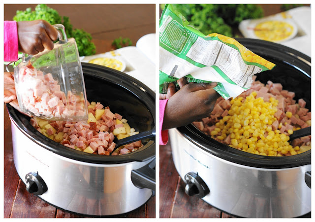 Slow Cooker Ham & Corn Chowder is a deliciously hearty and creamy meal perfect for enjoying leftover ham!  www.thekitchenismyplayground.com