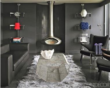 Sala con paredes grises