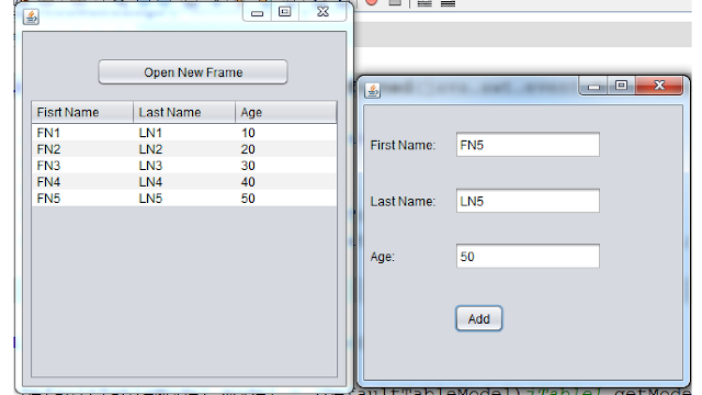Add Row To JTable From Different JFrame In Java