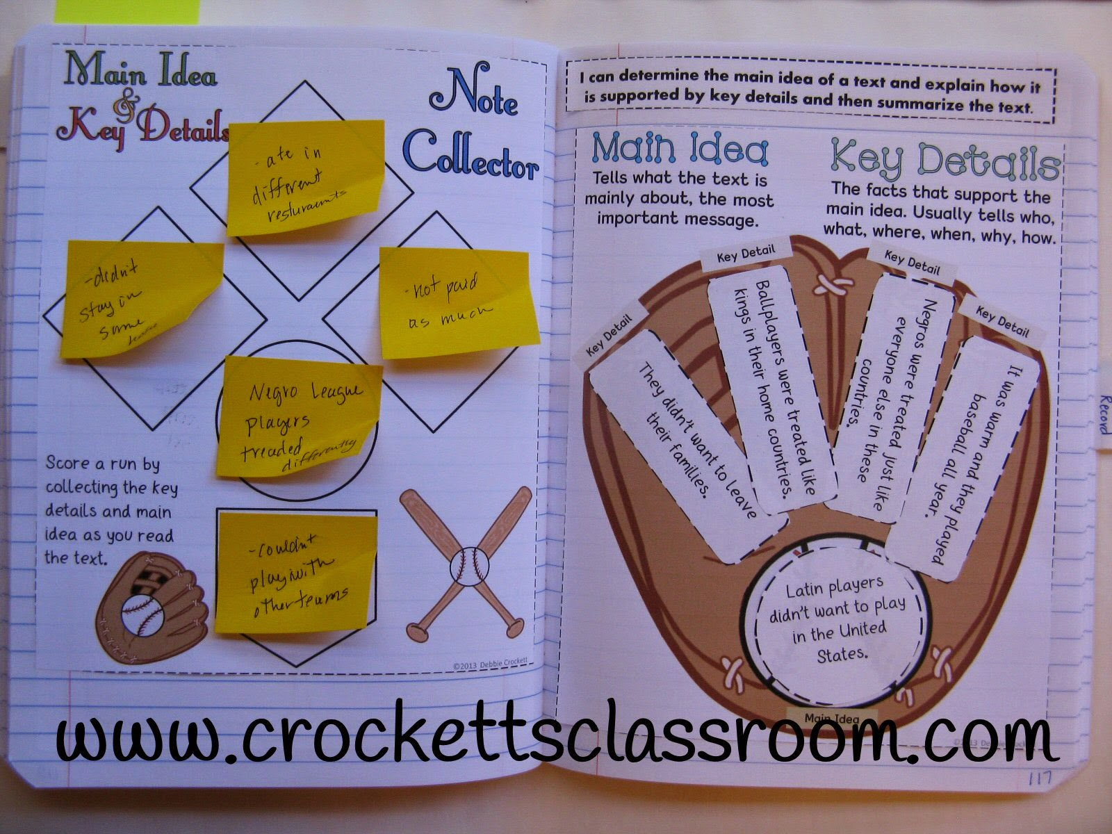 Interactive notebook page for teaching main idea and key details.