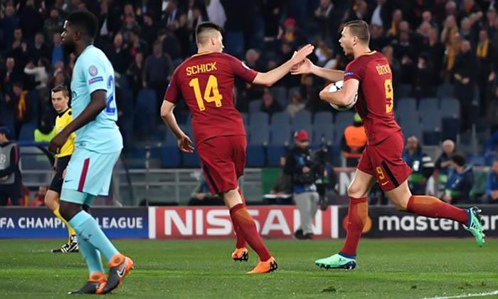 روما إلى نصف نهائي أبطال أوروبا بعد إقصاء برشلونة بثلاثية, مباراة برشلونة واسي روما, نتيجة مباراة برشلونة واسي روما, ملخص مباراة برشلونة وروما