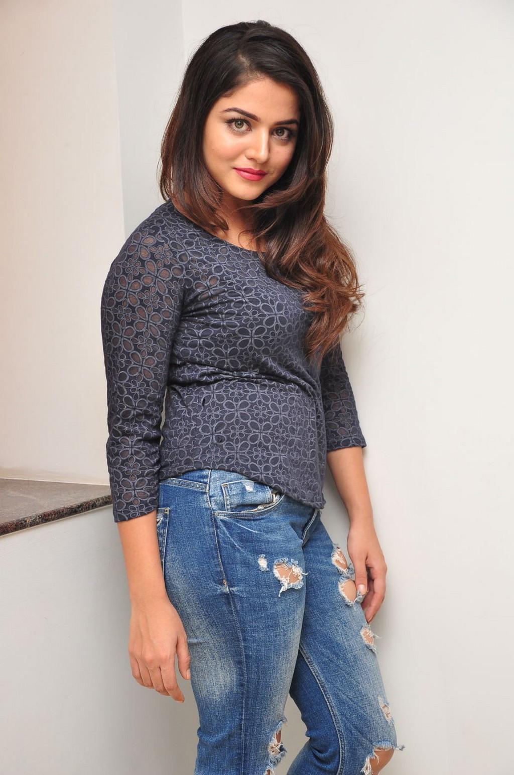 Glamours Tollywood Actress Wamiqa Gabbi Hot Stills In Black Top Blue Jeans