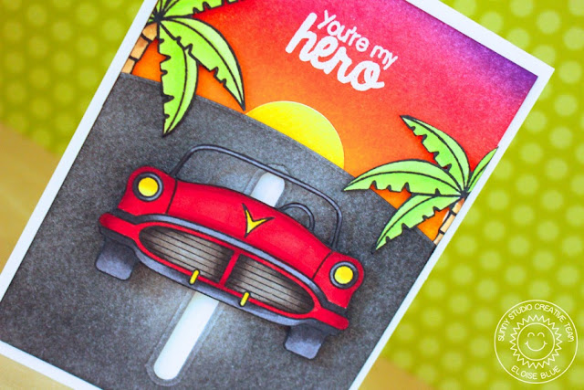 Sunny Studio Stamps: You're My Hero Slider Car Card by Eloise Blue (using Sock Hop, Stars & Stripes & Island Getaway)