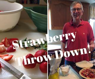 Piemeister Doug Boyd knee deep in strawberry pie fixin's.
