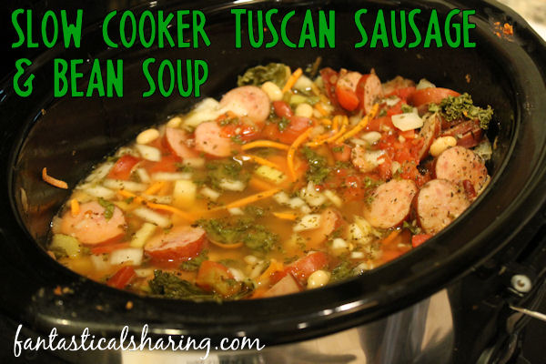 Slow Cooker Tuscan Sausage and Bean Soup // Slow simmered soup that is perfect for a cool autumn night - and is so simple to prepare! #recipe #soup #crockpot #slowcooker