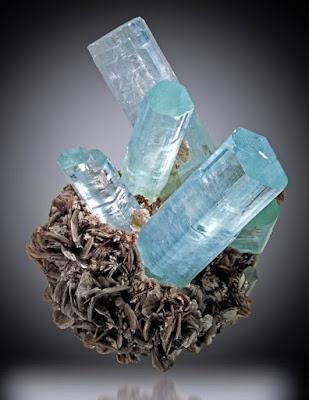 Imponentes cristales de aguamarina sobre mica