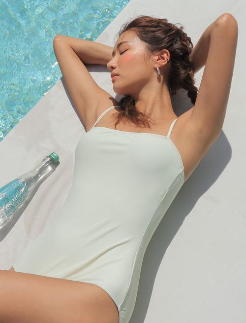 Single Tone Square Neck Swimsuit