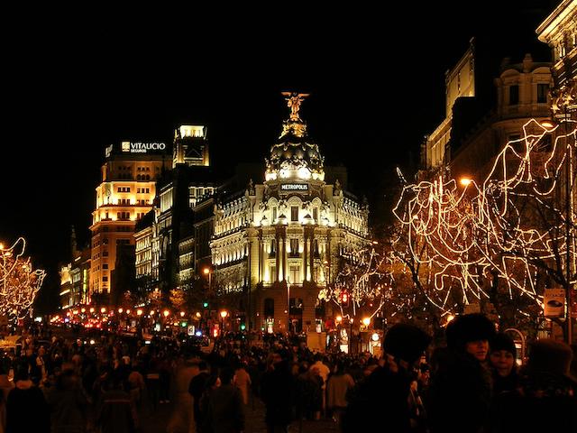Gran Via no Natal em Madri