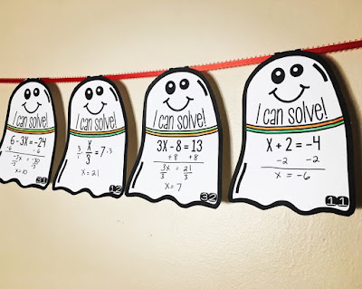 Solving equations ghost pennants for Halloween