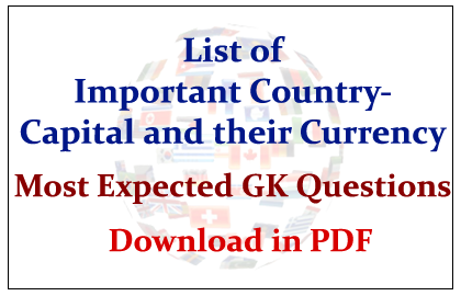List Of Important Country  Capital And Their Currency Download In PDF |  Most Expected GK Questions In PDF