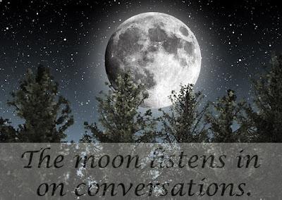 Moon and stars above a treeline.