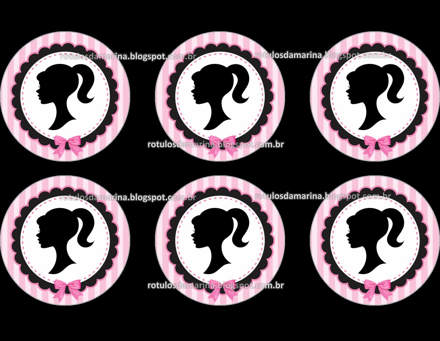 Adesivo De Mesversario Para Imprimir ~ Marina Rótulos Barbie Rosa e Preto