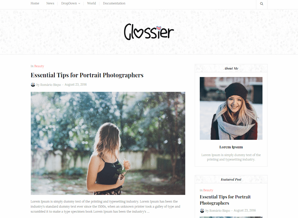 Glossier Clean Blogger Template