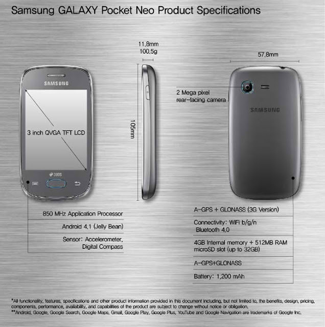 Samsung Galaxy Pocket Neo mobile specifications