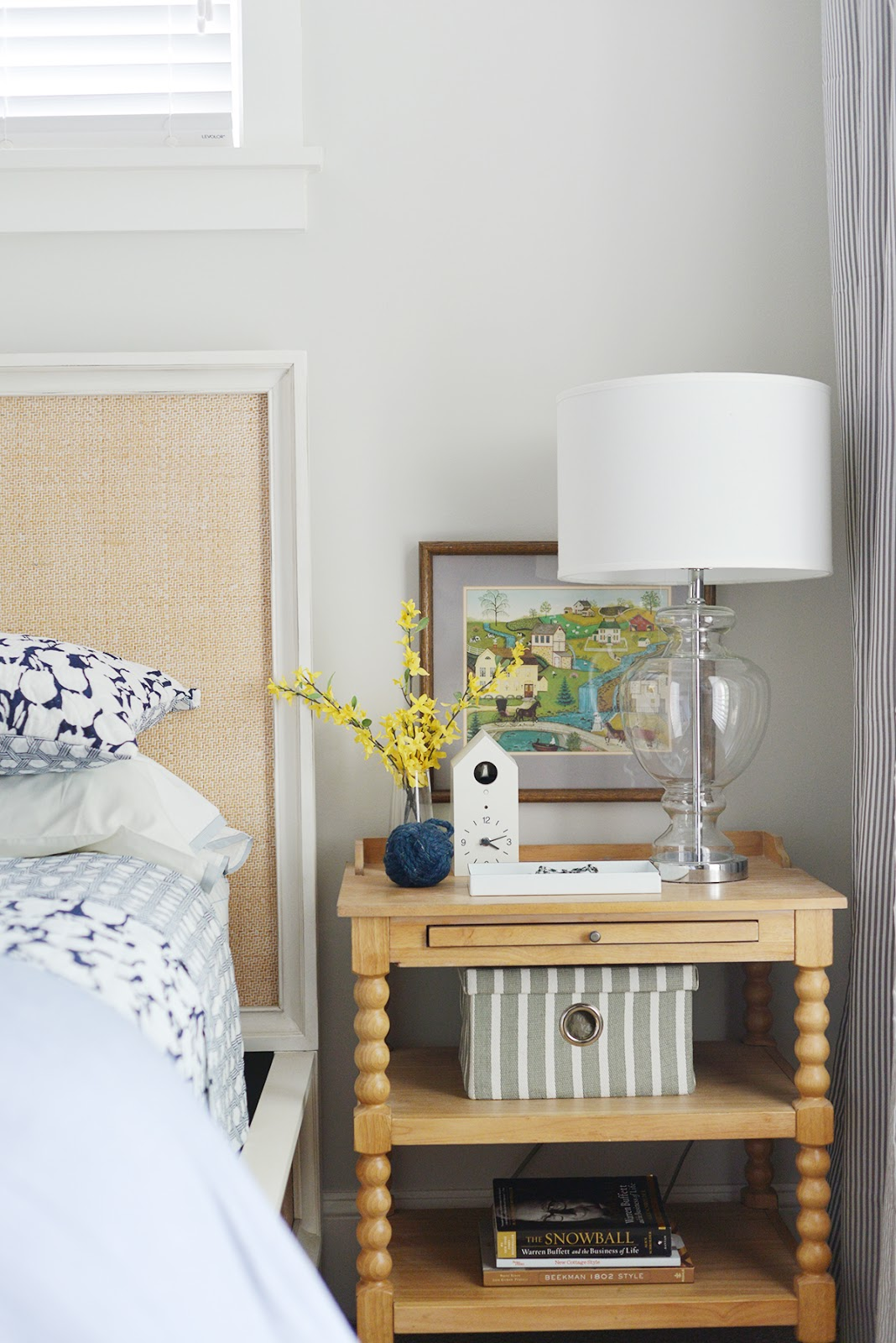 cottage bedroom, spool nightstand, modern country bedroom, serena & lily quilt