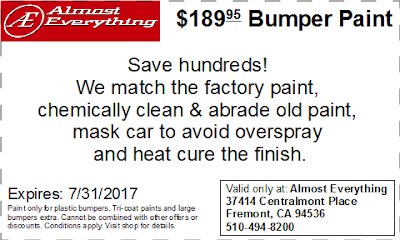 Discount Coupon $189.95 Bumper Paint Sale July 2017