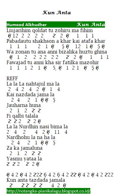 Not Angka Pianika  Lagu Kun Anta - Humood Alkhudher