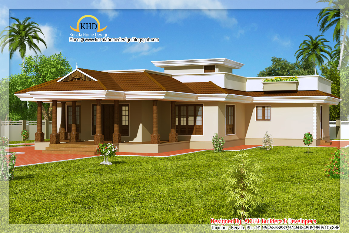 Kerala style single floor house 2165 sq ft kerala for Single floor house plans kerala style