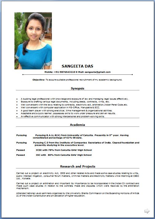 Legal Resume Format Indian. Sample Job Resume. Indian Chef Resume