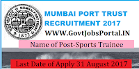 Mumbai Port Trust Recruitment 2017– 56 Sports Trainee