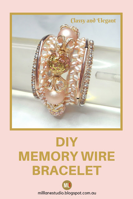 Delicate and elegant blush memory wire bracelet inspiration sheet.