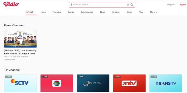 Situs live streaming Situs Vidio.com