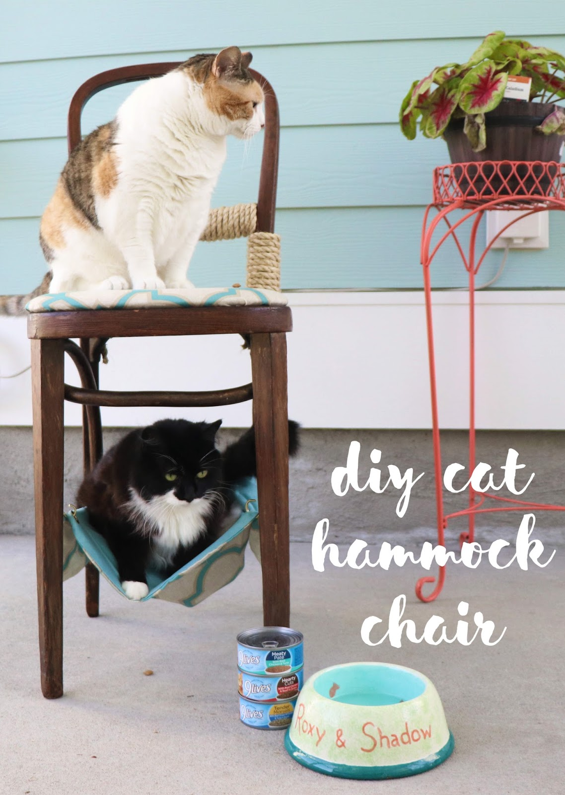 cat hammock under chair chocolate brown accent chairs borrowed heaven diy i went thrifting to find this perfect and pair of pillow cases bonus was that part the back broken knew removing anyway so