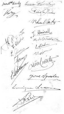 Firmas de los participantes en el Torneo Nacional de Ajedrez, celebrado en Madrid en 1935