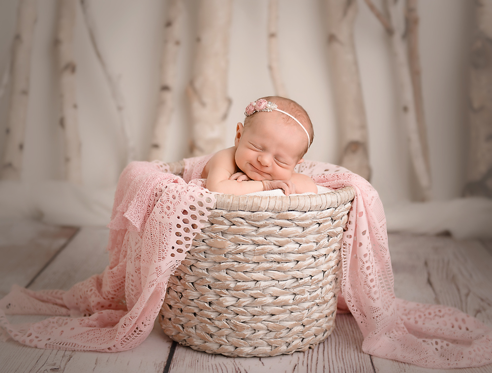 newborn baby girl in basket with pink blanket and birch tree background