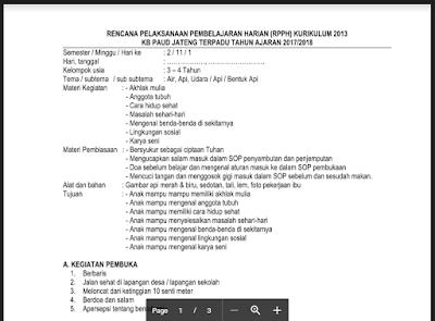 RPPH KB B Semester 2 Tema Api Kurikulum 2013