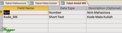Tampilan design view tabel ambil mk