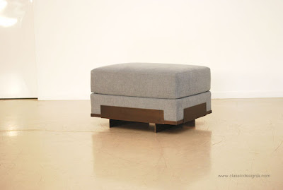 Custom Bronze Base Ottoman