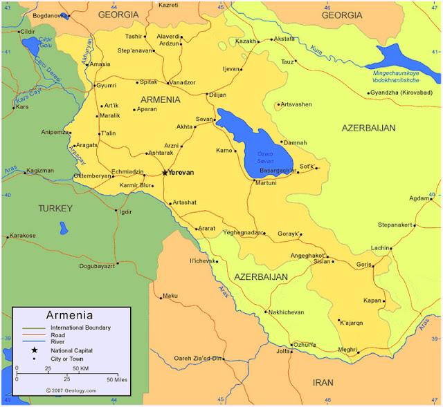 Gambar Peta wilayah Negara Armenia