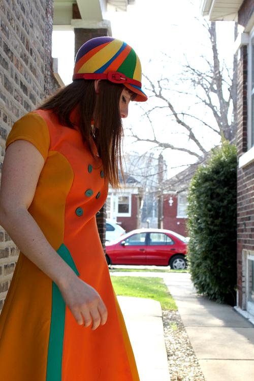 Vintage sixties style helmet hat and dress