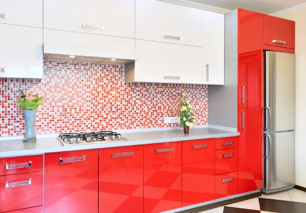 Best 55 modular Red Kitchen Designs, cabinets, walls, color ...