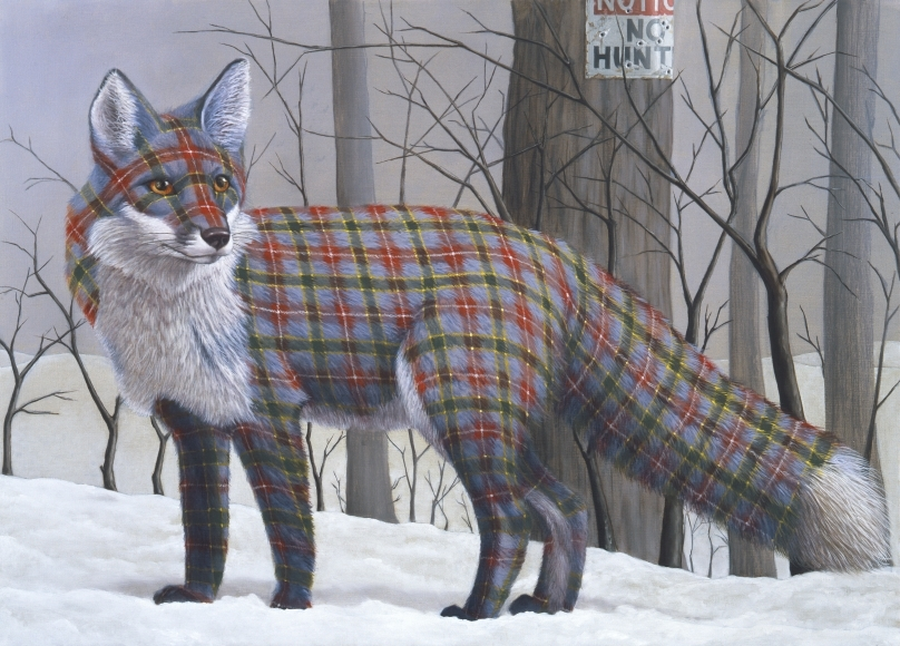 10-No-Hunting-Sean-Landers-Paintings-of-Animals-that-Swap-their-Fur-for-Tartan-Coats-www-designstack-co