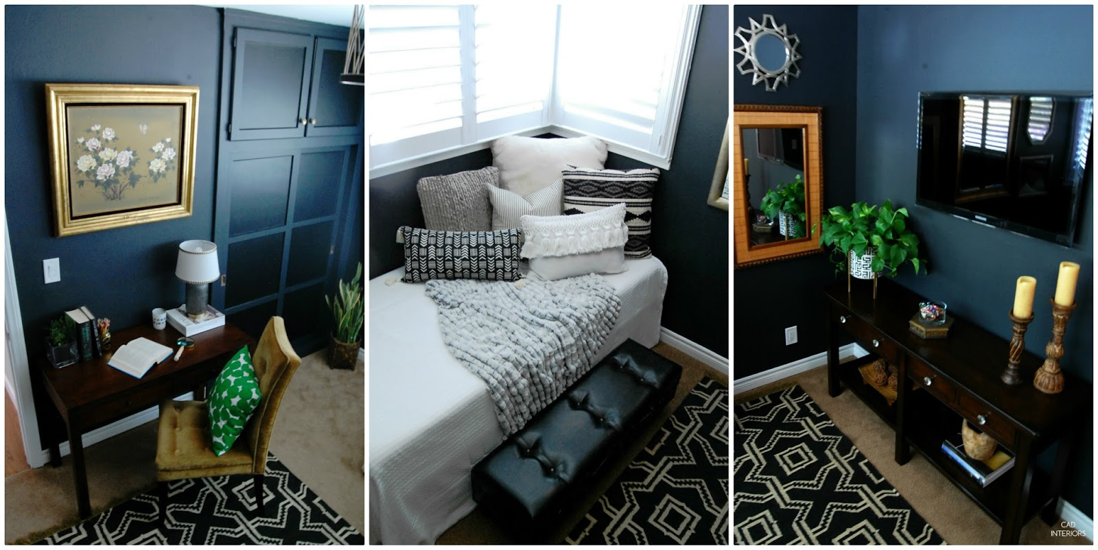 one room challenge bedroom makeover interior design decorating diy home improvement black brass modern vintage eclectic decor