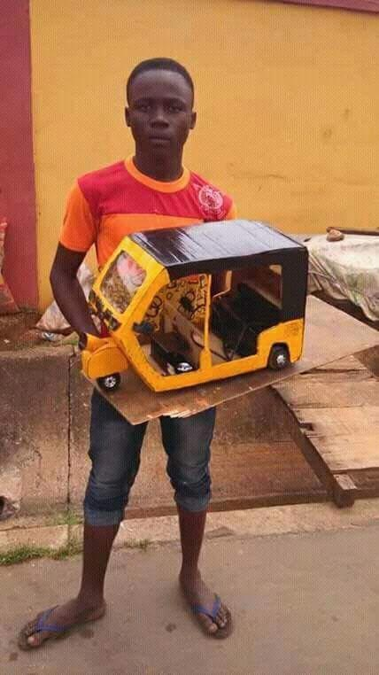 Secondary school student in Anambra manufactures tricycle prototype, brands it with Biafran flag
