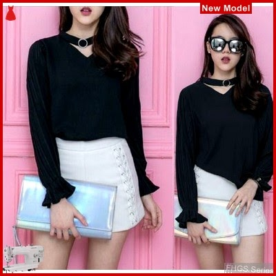 FHGS9172 Model Blouse Rina Blouse, Crepe Perempuan Wolly Hitam BMG