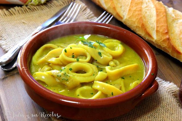 Calamares en salsa de ajo y perejil. Julia y sus recetas