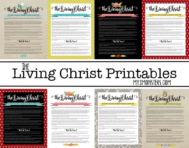 Free Printables of The Living Christ -- 8 options available at my3monsters.com