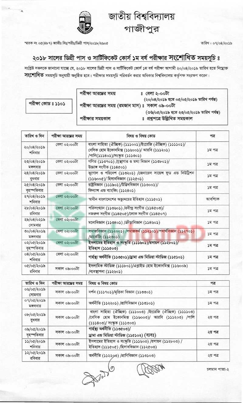 Degree 1st year changed routine 2019 part1