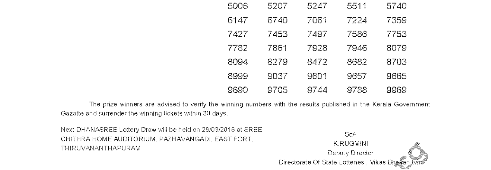 DHANASREE Lottery DS 229 Result 22-3-2016