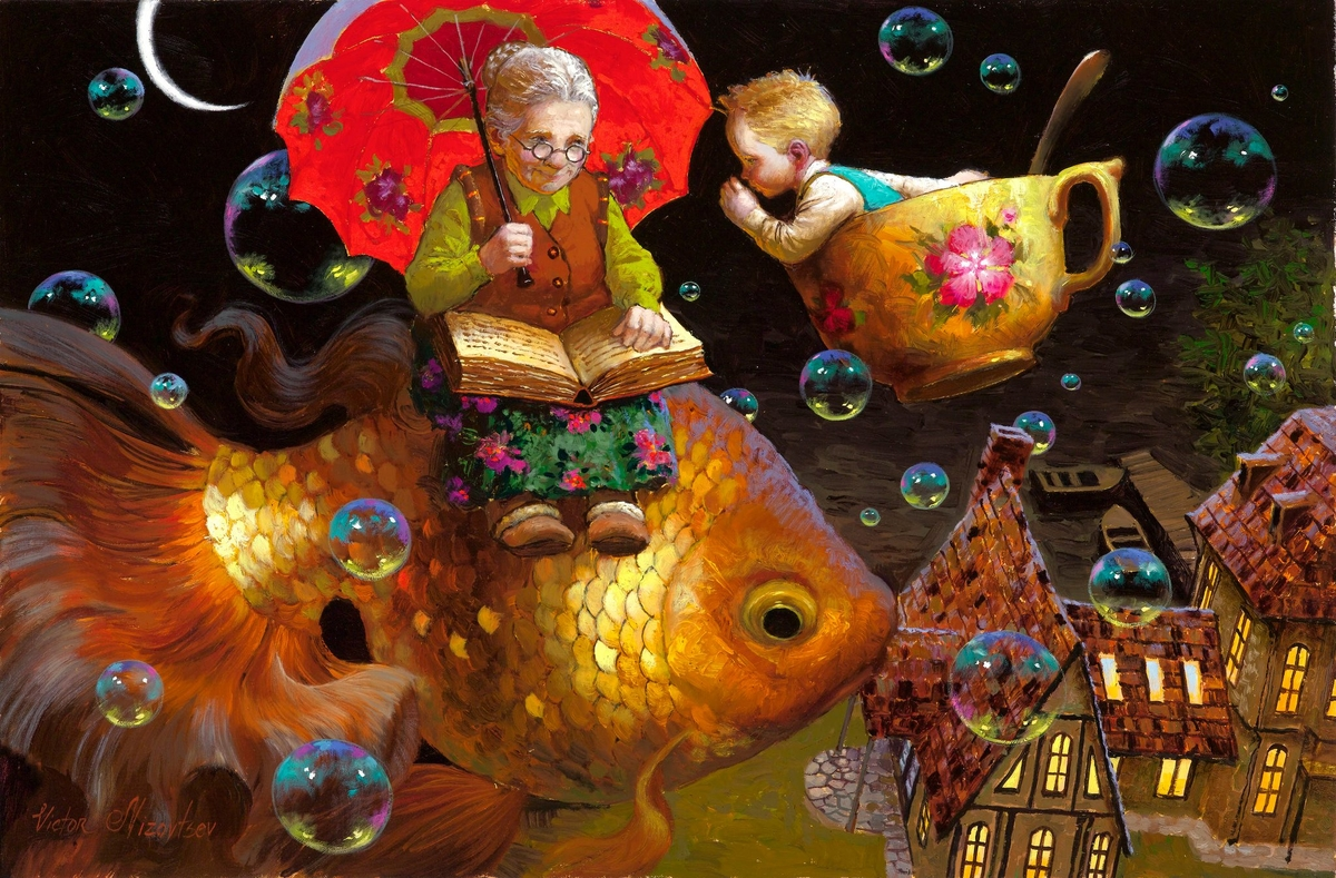06-Telling-Grandma-a-Secret-Victor-Nizovtsev-Daydreaming-with-Fantasy-Oil-Paintings-www-designstack-co