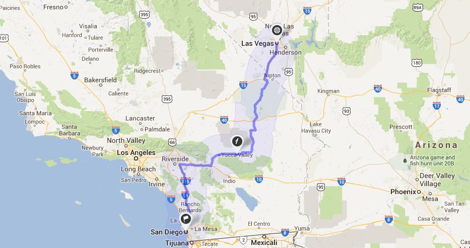 Como ir de Las Vegas a San Diego de carro