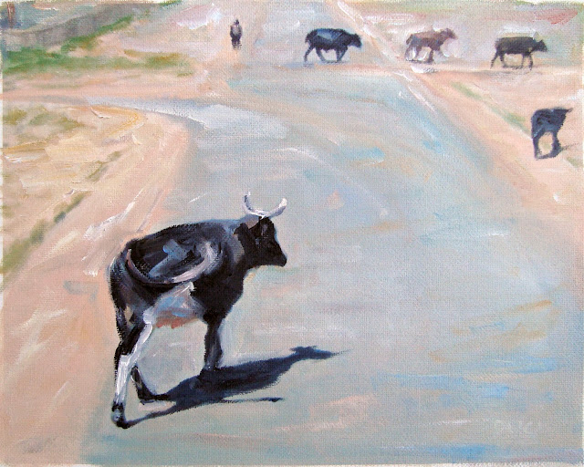 cows roam freely on the road near Swaziland, painting from Google Street Views